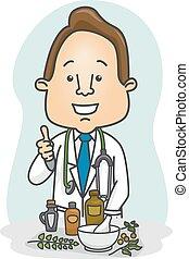 herbal gyógyszer, ember, ajánló, orvos