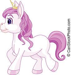 hercegnő, csinos, ló jár