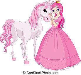 hercegnő, ló, gyönyörű