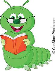 hernyó, karikatúra, könyv, felolvasás