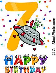 hetedik, születésnap, tervezés, karikatúra