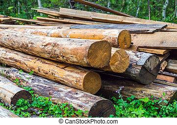 hevül fa, használt, cölöp, állomást bemér