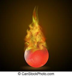 hevül labda, láng, piros, égető