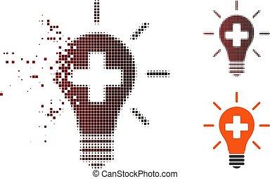hibás, elektromos, orvosi, halftone, lámpa, fénykép, ikon