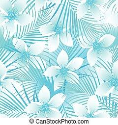 hibiszkusz, horgonykapák, frangipani, seamless, tropikus, motívum