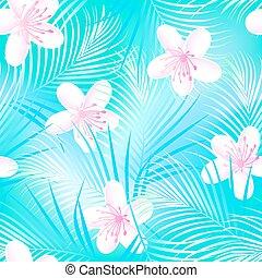 hibiszkusz, kék, horgonykapák, frangipani, seamless, tropikus, motívum