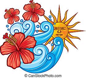 hibiszkusz, nap virág, vörös- tenger