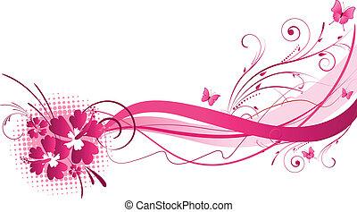 hibiszkusz, rózsaszínű, tervezés, florals