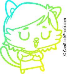 hideg, gradiens, egyenes, macska, leány, rajz