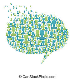 higgadt, buborék, emberek, fogalom, sok, beszéd, eps8, társadalmi, vektor, silhouettes., hálózat