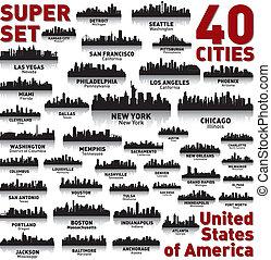 hihetetlen, egyesült államok, egyesült, set., láthatár, város, america.