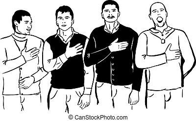 himnusz, nemzeti, férfiak, négy, -eik, énekel, hallgat