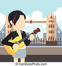 hintaszék, gitár, leány, kirándulás, birtok