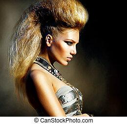 hintaszék, mód, mód, frizura, portrait., formál, leány