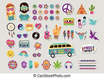 hippi, mód, művészet, foltoz, ikonok, állhatatos, cseh, tervezés, böllér, sikk, faszegek, jelvény