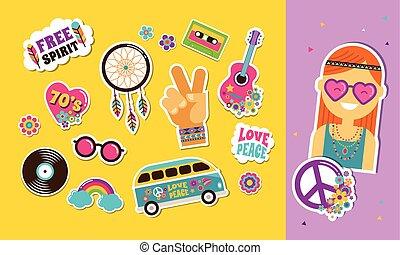 hippi, mód, művészet, ikonok, foltoz, cseh, böllér, sikk, faszegek, jelvény