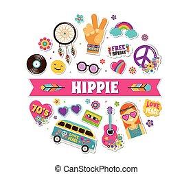 hippi, mód, művészet, poszter, ikonok, foltoz, cseh, tervezés, kártya, böllér, sikk, faszegek, jelvény