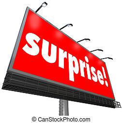 hirdetés, hirdetőtábla, meglep, megdöbbentő, transzparens, piros, felfedezés
