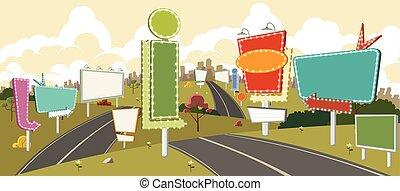 hirdetőoszlopok, karikatúra, út