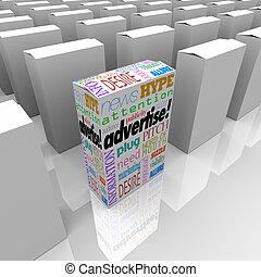hirdet, polc, bolt, egyedülálló, doboz, szavak, marketing