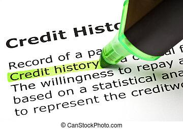 "history"", ""credit, kijelölt, zöld"