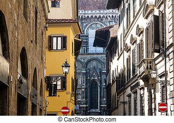 histroical, épület, olaszország, homlokzatok, firenze