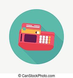 hitel, árnyék, bevásárlás, kártya, gép, ikon, eps10, lakás, hosszú