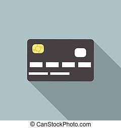 hitel, árnyék, hosszú, kártya