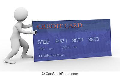 hitel, 3, kártya, ember