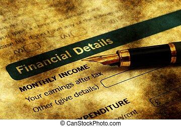 hitel, anyagi, részletek, forma