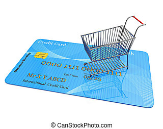 hitel, bevásárlás, kártya, kordé, apró