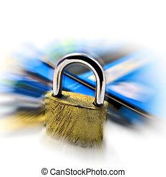 hitel, biztonság, biztonság, kártya, gombostű