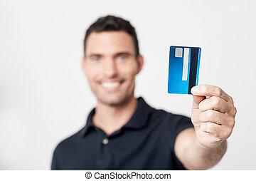 hitel, boldog, kártya, ember