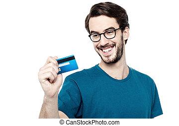 hitel, ember, fiatal, kártya, birtok