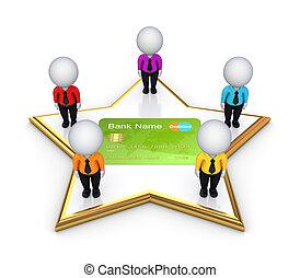 hitel, emberek, card., mindenfelé, 3, csillag, kicsi