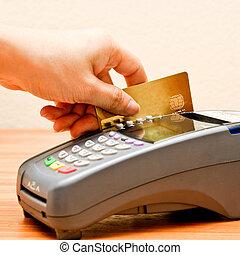 hitel, fizetés, kártya, gép