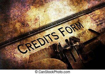 hitel, forma, írógép