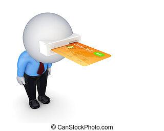 hitel, head., kártya, személy, 3, kicsi