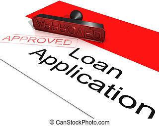 hitel, jóváhagyott, alkalmazás, kiállítás, egyezmény, kölcsönad
