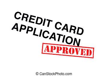 hitel, jóváhagyott, kártya, alkalmazás