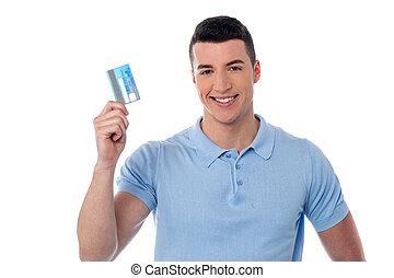 hitel, kiállítás, övé, kártya, ember