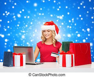 hitel, laptop, woman mosolyog, kártya