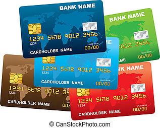 hitel, műanyag, card., ábra, vektor