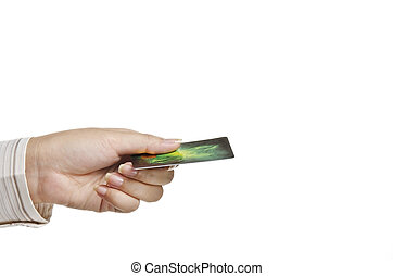 hitel, női, birtok, kártya kezezés