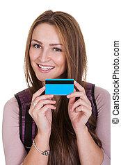 hitel, női hallgató, kártya, birtok