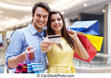 hitel, párosít, bevásárlás, kártya, fedett sétány, kiállítás, gyönyörű