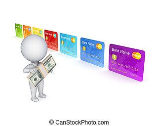 hitel, színes, card., személy, 3, kicsi