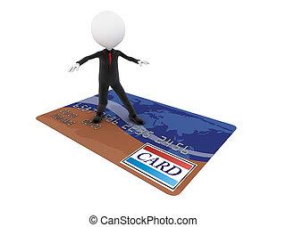 hitel, szörfözás, üzletember, bevásárlás, őt jár, kártya, 3