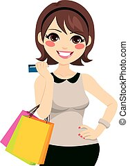 hitel, woman bevásárol, kártya