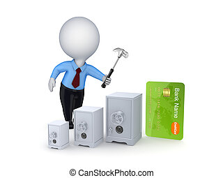 hitelkártya, concept.